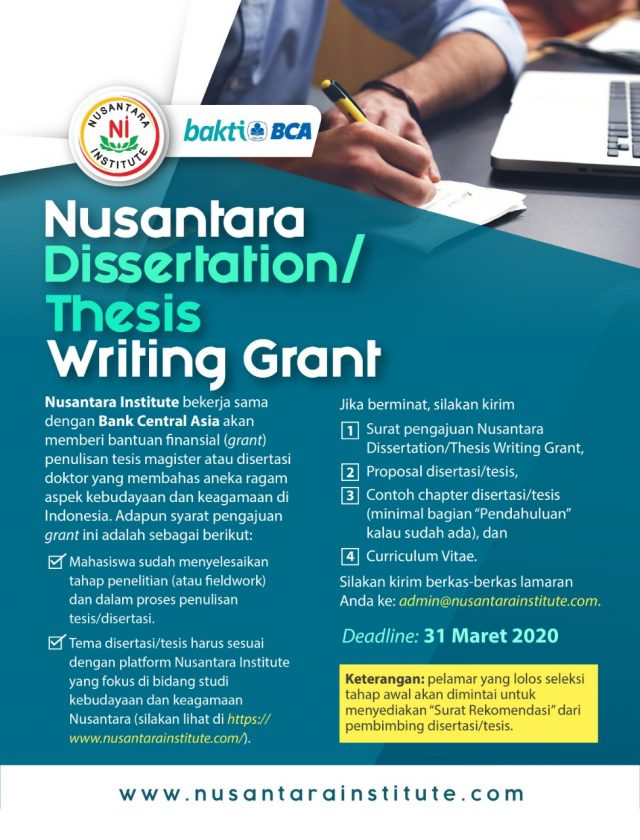 Dissertation write up grants