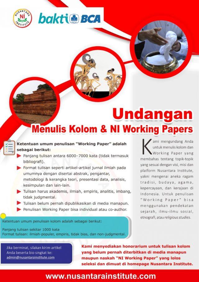 Undangan Menulis Kolom & NI Working Papers